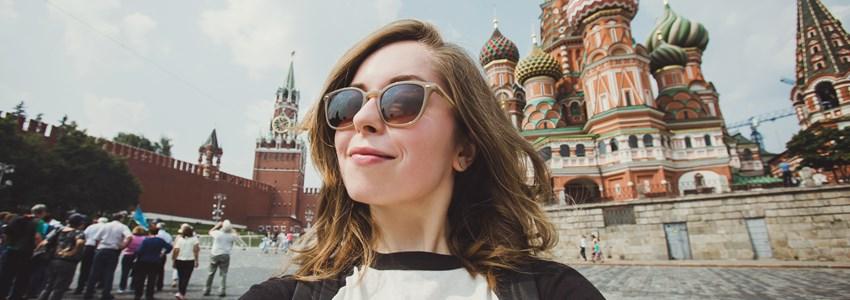 Girl taking selfie in Red Square