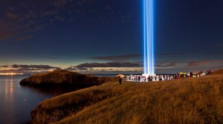 Illumination of the Imagine Peace Tower on Viðey Island