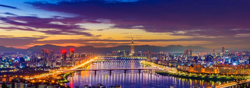 Seoul city skyline, Hangang River and Lotte World mall at nigth in South Korea.