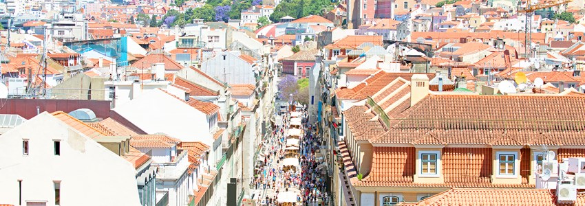 Aerial view of the Augusta Street and the Downtown District, known as Baixa. The most cosmopolitan street of the city is permanently full with Lisboans and tourists