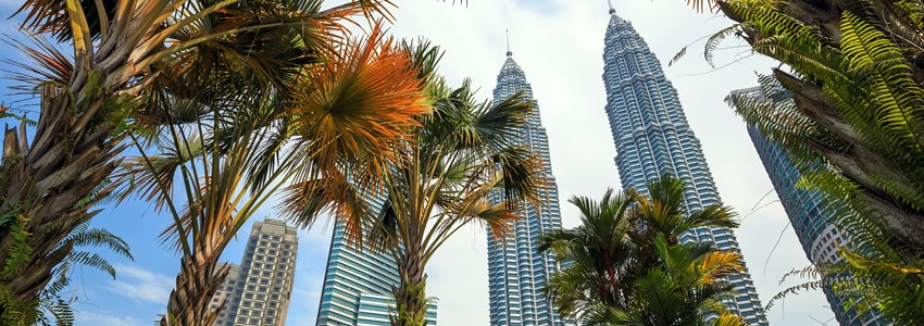 Landscape of downtown kuala lumper with blue sky