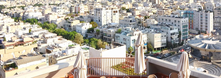 View of Tel-Aviv city from roof cafe (Israel)