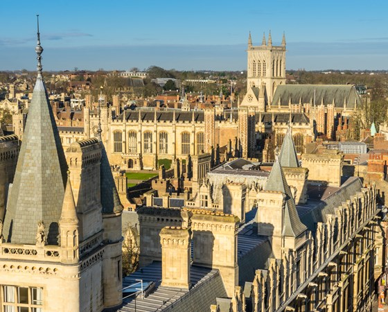 looking across the rooftops of the university city of Cambridge in the UK