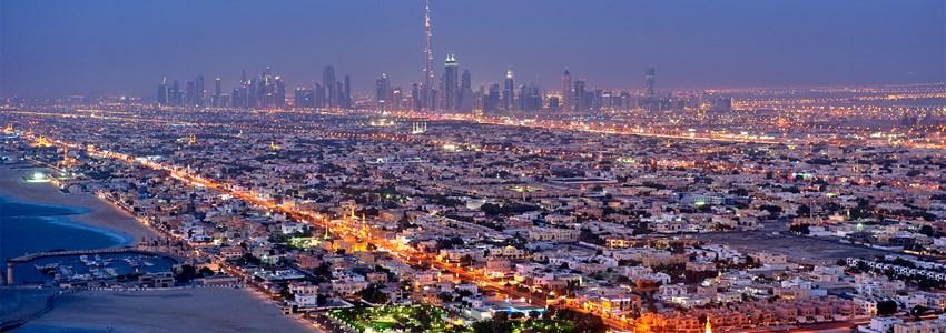 Old Dubai skyline at dusk