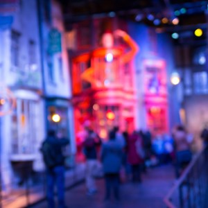 Blurred image of Diagon Alley from Harry Potter film. Produced in Warner Brothers Studio. London / IR Stone/Shutterstock.com