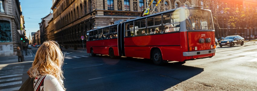 backpacker girl traveling in budapest