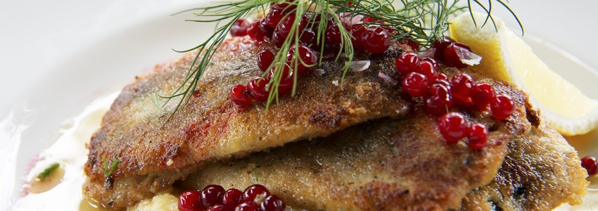 Fried herring with mashed potatoes, Swedish traditional delicacy