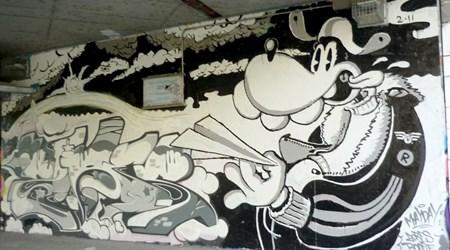 Graffiti scene along Danube Canal