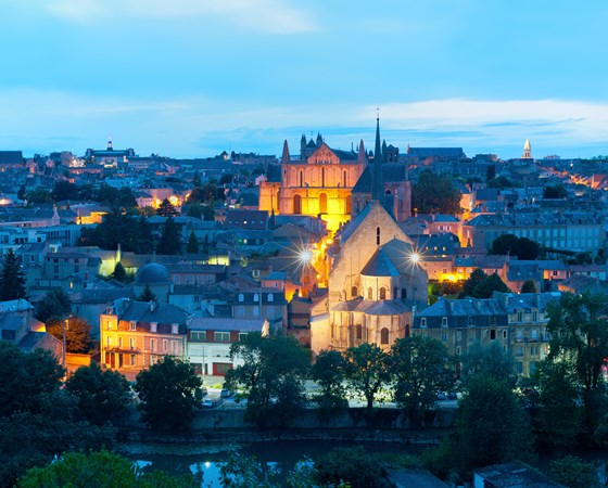 Panoramic view of Poitiers at a summer night