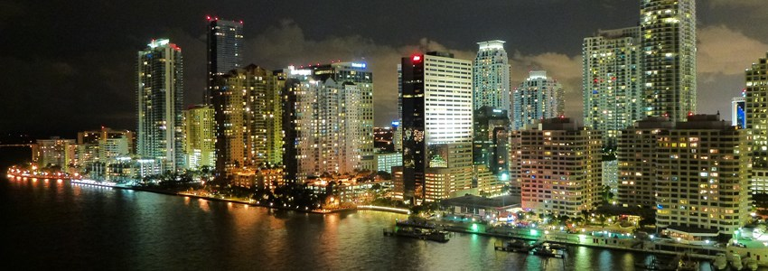 Miami skyline by night