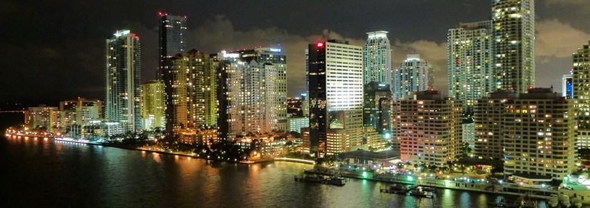 Miami skyline by night