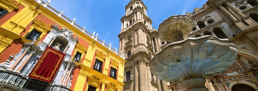 Cathedral Square and the episcopal palace in Malaga, Spain