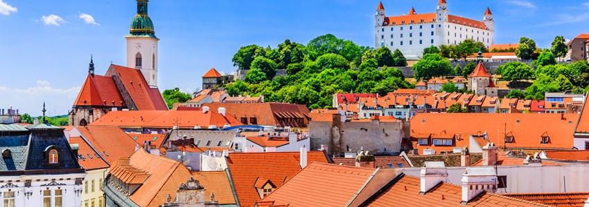 Bratislava, Slovakia. View of the Bratislava castle, St. Martin's Cathedral.