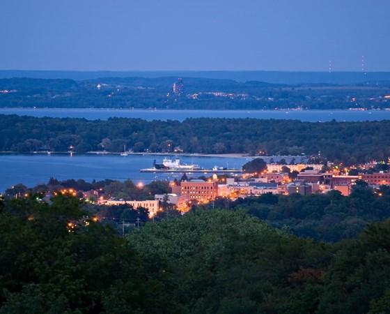 nighttime cityscape of Traverse City, Michigan