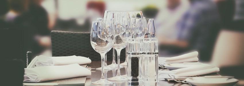 wine glass, people in summer restaurant
