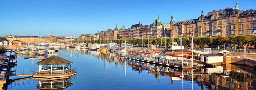 Stockholm panorama shot. View from Djurgardsbron early morning