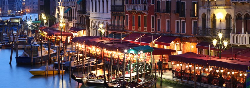 Grand Canal at nigh in Venice, Italy