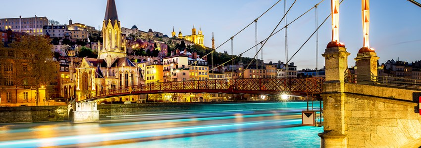 night view from St Georges footbridge in Lyon city