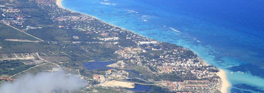 Punta Cana tropical resorts, aerial view