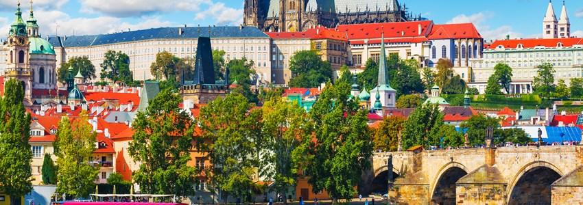 Scenic summer panorama of the Old Town Prague, Czech Republic