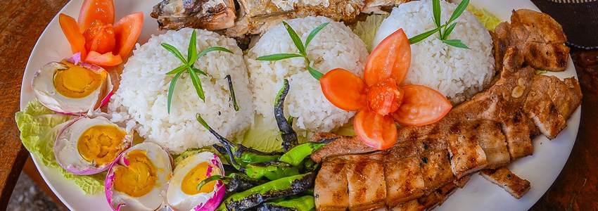 Filipino Food - Rice, Milkfish, Pork, Salted Eggs, Vegetables