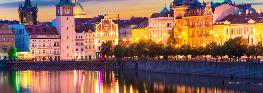 Scenic sunset panorama of the Old Town Prague