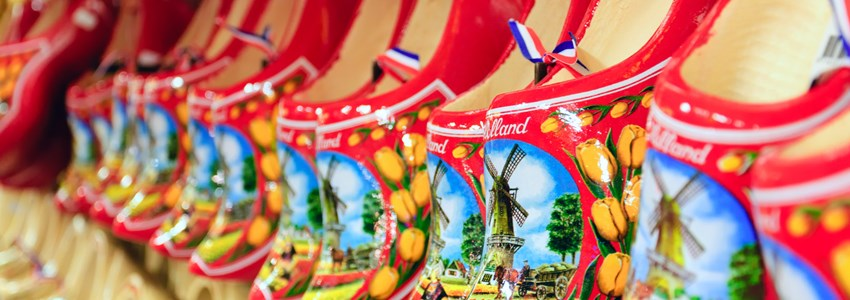 Dutch red wooden shoes in Amsterdam, Netherlands