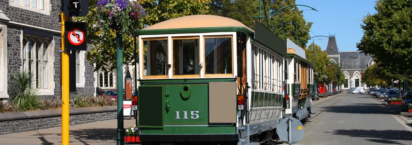 Famous symbol of Christchurch, New Zealand. Heritage tramway. Tourist attraction.