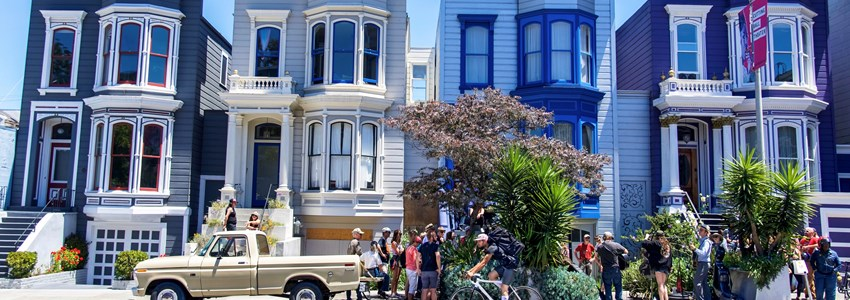 colorful houses and hipsters in San Francisco, California