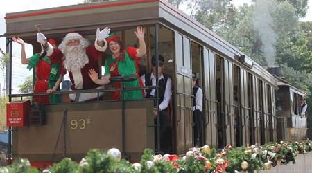 See Santa arrive by Steam Tram